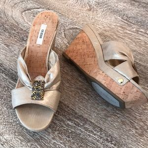 Guess Gold Cork Wedge Shoes